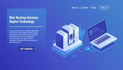 Server room rack, remote system administration, outsourcing service, computing technologies isometric vector icon