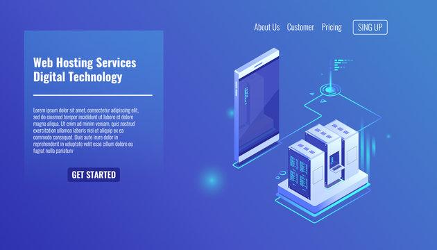 Website and weapplication hosting, server room rack, data exchange, file traffic, backup copy mobile phone isometric vector