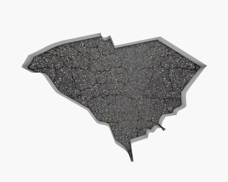 South Carolina SC Road Map Pavement Construction Infrastructure 3d Illustration