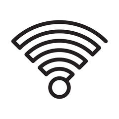 Vector simple black wifi icon made of one line on white background.