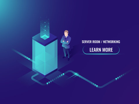 Energy technology neon style, server room rack, data center concept, big data processing, data transmission technology and data protection, isometric businessman vector ultraviolet