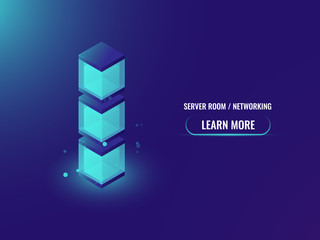 Technology abstract geometry obgect, isometric cube box, electric power station concept, server room and data processing banner vector illustration