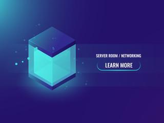 isometric neon big data storage block concept, abstract technology banner, shining cube box, blockchain vector illustration