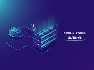 Isometric illustration of big mining farm concept, vector server room, bitcoin cruptocurrency miner, man investment into high technology