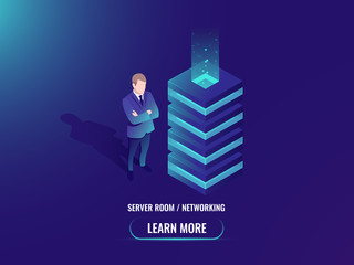 Server room isometric vector, cloud storage concept, super computer, big data processing, web hosting, abstract geometry object