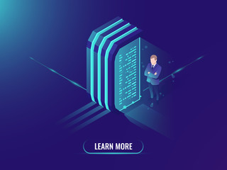 Data processing and information management, data science concept isometric vector, server room, dark neon background