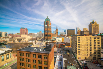 Poster de jardin Marron chocolat Downtown skyline with Buildings in Milwaukee USA
