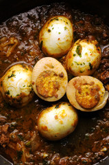 Eggs in tomato sauce Uova sode in funghetto Cucina friulana Italian cuisine