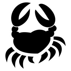 Single crab vector in black on an isolated white background