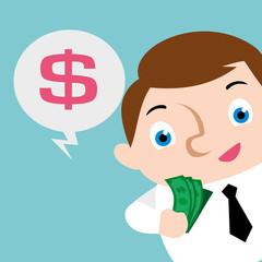 businessman happy with cash money