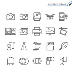 Photography line icons. Editable stroke. Pixel perfect.