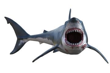 Great White shark isolated on white, 3d render