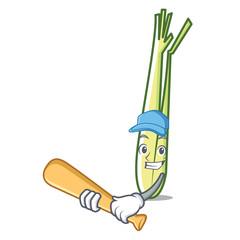 Playing baseball lemongrass character cartoon style