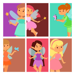 Fairies princess cards fairy girl vector character cute beautiful style cartoon little fairyland fashion costume magic fantasy dress fairytale crown kid.