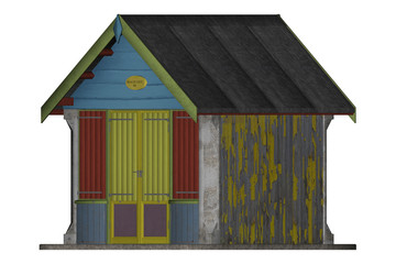Single beach hut isolated on white, 3d render.