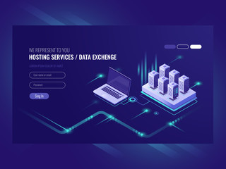 Web sites hosting services, server room rack, data center, data searching, network administration isometric vector ultraviolet
