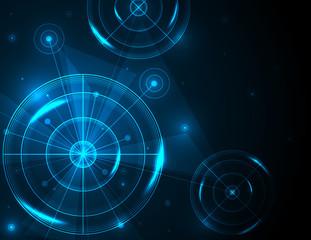 Shiny blue radar, target, shooting range on black background. Creative design vector templates for global network connection technology.