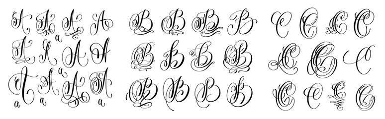 calligraphy letters set A, B and C, script font Isolated on whit