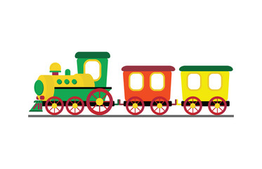 Cartoon toy train with colorful blocks isolated on white background,vector illustration.