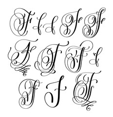 calligraphy lettering script font F set, hand written signature