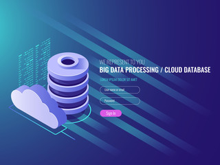 Cloud data storage services, database cloud program code icons, Data storage, server room IT isometric 3d vector