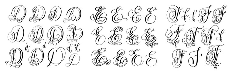 calligraphy letters set D, E and F, script font