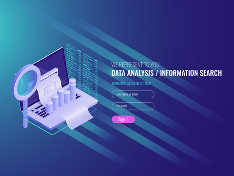 The report on the computer, program of statistics and analytics, notebook with the diagram and a magnifying lens IT isometric 3d vector