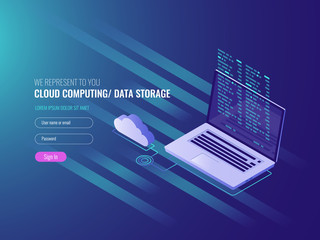 Cloud computing concept, open laptop with cloud icon and program code on scree, data storage, IT isometric 3d vector