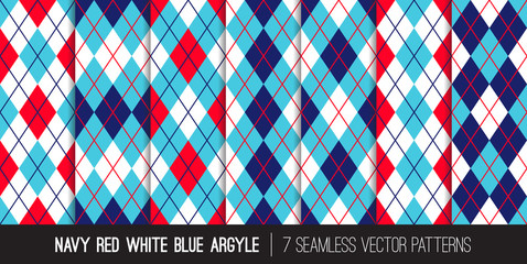 Argyle Seamless Vector Patterns in Navy, Red, White and Blue. Classic Golf Textile Prints. Patriotic Colors. 4th of July Independence Day Backgrounds. Pattern Tile Swatches Included.