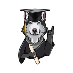 Siberian Husky Graduate. Rock gesture, Horns. Graduation cap hat diploma. Dog. Vector.