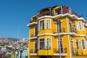 Beautiful traditional building seen in Valparaiso, Chile