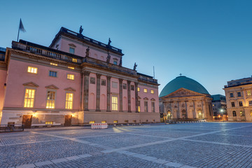 The Berlin State opera and St. Hedwigs Cathedral at dawn