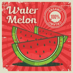 Watermelon Vintage Retro Signage Vector