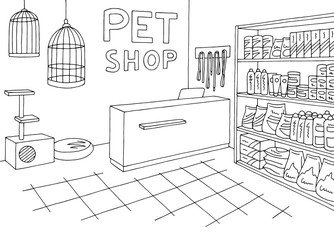 Pet shop store graphic interior black white sketch illustration vector