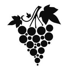 Icon Silhouette of grapes with leaves on white background