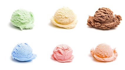 Fototapete - Six Different Scoops of Ice Cream, all different flavors