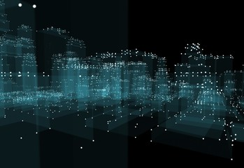 Abstract 3d city with dots and blue buildings