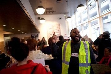 Interfaith clergy leaders stage a sit-in in a Center City Starbucks, near the location where two black men were arrested, in Philadelphia