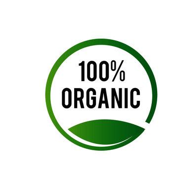 100% organic stamp logo