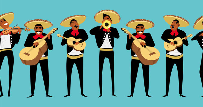 Mexican musicians. seamless pattern