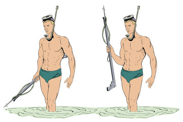Diver with gun for spearfishing.