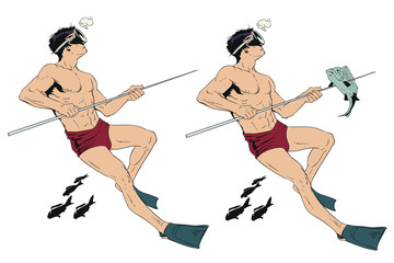 Diver with spear.