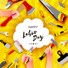 Happy Labor Day greetings card for national, international holiday. Hands workers holding tools in paper cut styl on sky yellow. Cloud frame. Space for text.