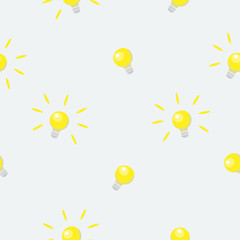 Seamless pattern with shining bulbs on simple background.