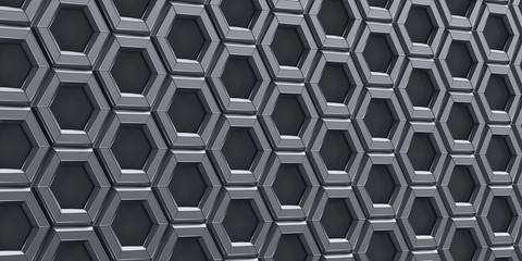 3d render illustration. Metallic hexagons on a black background.