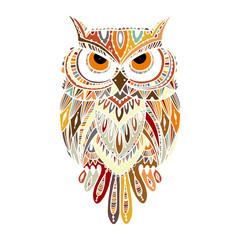 Wall Murals Owls cartoon Ornate owl, zenart for your design