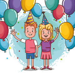 happy birthday card with little kids vector illustration design