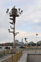 Tiananmen Square Street Lamp with many Observation Cameras