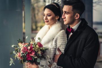 Beautiful wedding couple outdoor