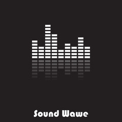 Sound wave with reflection on black and white design.